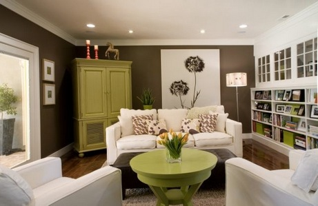 Chocolate brown and green living room